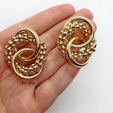 Gold Chunky Triple Hoop Knot Clip On Earrings Blogger UK Statement Earring Hoops