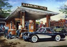 Dan Hatala Full Service Gulf Gas Station Corvette Art Print 16 x 12