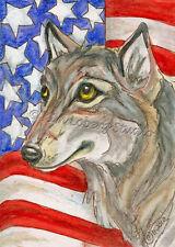 New listing Wolf Usa America flag Aceo Ebsq Kim Loberg Mini Art patriotic Wild dog Animal