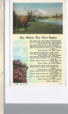 Out Where The West Begins Poem  Elk & Mountain  Mailed 1938   Linen Postcard 933