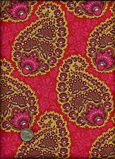 """Heirloom"" Paisley Print rose tan burgundy on cherry red Fabric by Joel Dewberry"