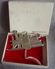 MIB 1985 Gorham American Heritage Sterling Silver Xmas Side Wheeler Ornament HTF
