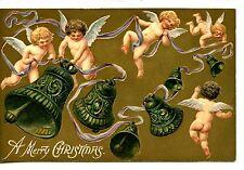 Flying Cherub Angels-Bells-Merry Christmas Holiday Greeting Postcard