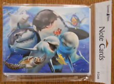 8 Leanin Tree Note Cards SELFIES, SHARKS, WHALES, DOLPHINS, TURTLES,FISH SMILING