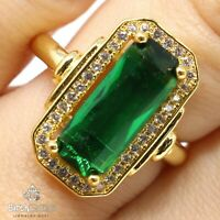 Vintage Emerald Ring Women Anniversary Jewelry Size 6 7 8 9 14K Yellow Gold