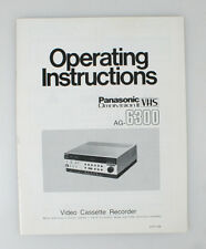 OPERATING INSTRUCTIONS FOR PANASONIC VHS OMNIVISION II AG-6300