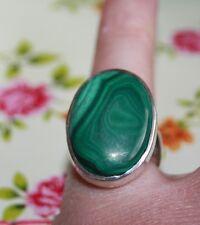 Stunning Huge Malachite Green Vintage Modernist Sterling Silver Ring