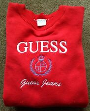 Men's Vintage Guess Jeans Georges Marciano Red Crewneck Sweater Size XL EUC