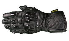 Carbon Fiber Leather Gauntlet Cordura - Black Tek Moto Motorcycle Gloves