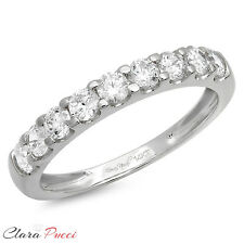 1 CT Round Cut 9-Stone Bridal Engagement Wedding Ring Band SOLID 14K White Gold