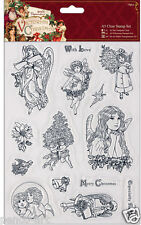 Papermania Chiare CHERUB TIMBRO 14pc Set timbri Vittoriano NATALE ANGELS cherubs