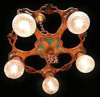 Antique Art Deco Polychrome 5 Arm Chandelier Ceiling Light- Restored & Rewired!