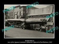OLD POSTCARD SIZE PHOTO DEKALB ILLINOIS, THE JAPANESE WWII MINI SUBMARINE c1945