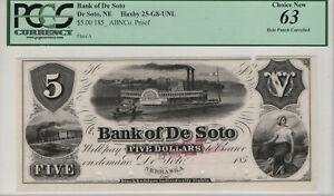 $5 BANK OF DE SOTO NEBRASKA ABNCO PROOF OBSOLETE PCGS VERY CHOICE NEW 63 (708)