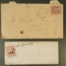 c.1860's, 3c A25 Stamps & Covers, Yonkers & Coopersville, NY, Star & Pen Cancel