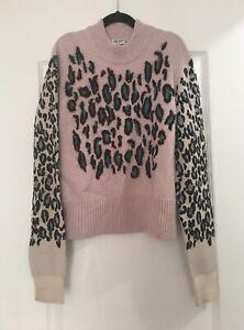 Kenzo Women Size Medium Pink Leopard Print Sweater
