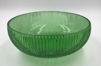 Vintage E.O BRODY CO. Green Ribbed Glass Bowl Cleveland OH. U.S.A.