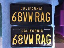 """""""68 VW RAG"""" California Black Plates, CA Legacy Plate, Volkswagen, Bug, Beetle"""