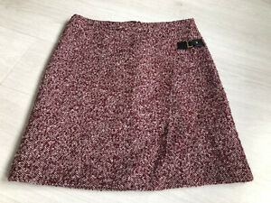 M&S Marks And Spencer Burgundy Tweed Mix Wool Blend Skirt Sz 12