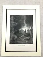 Jesus Picture Antique Print Christ Praying in the Garden Bible Story Victorian