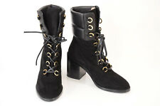 Stuart Weitzman black 8.5 suede leather round toe mid-calf boot shoe NEW $698