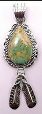 Navajo Handmade Royston Turquoise Pendant Set In Sterling Silver-Alfred Martinez