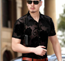 2017 Luxury fashion Fine Silk Short Sleeve Mens Casual Male Dress Shirts XXL