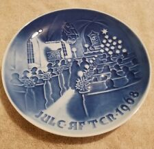 Copenhagen Porcelain Christmas Plate 1968 Christmas in Church Blue