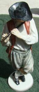 Nymphenburg PORCELAIN Costume FIGURE 880 Resl Schroder Lechner MAN PLAYING FLUTE