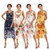 Women's Sling Floral Loose Chiffon Dresses Ladies Summer Holiday Beach Sundress