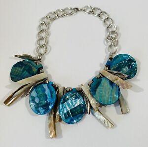 Blue And White Abalone Shell Necklace Artisan Chunky Statement Choker