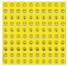 Sheet of 100 - Yellow Smile Faces Mini Stickers - Loot Party Bag Fillers