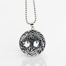 Silver World Tree Yggdrasil Pendant Necklace Beads Chain Jewerly