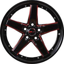 4 GWG Wheels 18 inch Black Red Mill DRIFT Rims fits 5X120 CHEVROLET CAMARO LT