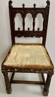 Cathedral Antique Gothic Wood Carved Chair Folk Banister Bishop Throne Spanish
