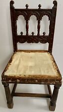 Rare Cathedral Antique Gothic Wood Carved Chair Folk Banister Bishop Throne 18C