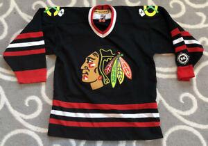 Vintage Kids Chicago Blackhawks KOHO NHL Hockey Black Jersey Kids Size L / XL