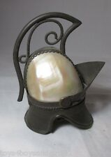 Mother-of-pearl HELMET ETUI with Thimble & needle pack;ANTIQUE c1800's;