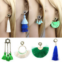 Pair Steel Saddle Screw Tassel Chain Hoop Dangle Flesh Tunnel Ear Plug Stretcher