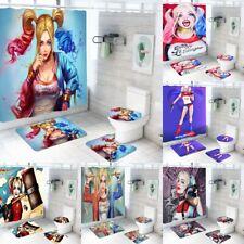 Harley Quinn Bath Mat Anti-Slip Contour Rug Shower Curtain Toilet Lid Cover 4PCS