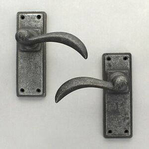 "6"" Ellipse Pewter Lever Door Handles Set Latch Lock Bathroom Heavy Pewter Handle"