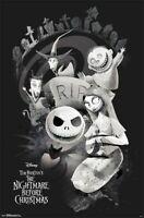 THE NIGHTMARE BEFORE CHRISTMAS ~ CAST RIP ~ 22x34 MOVIE POSTER Tim Burton