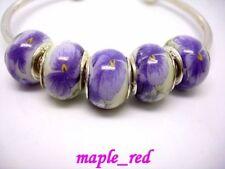 Beautiful  Porcelain Silver Core Beads Fit European Charm DIY Bracelet Gift SB47