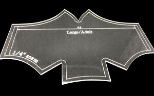 Acrylic batwing mask / face covering template small or large