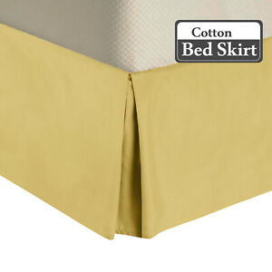 "450TC Cotton Bed Skirts-15"" Drop Pleated Tailored Bed Skirts with Split Corners"