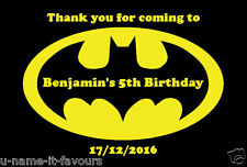 Personalised Batman Kids Birthday Gift Bag - Noodle Box Sticker Label 8 Per Page