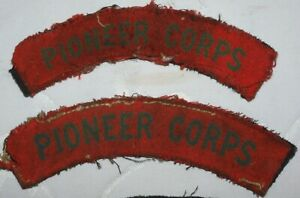 WW2 PIONEER CORPS SHOULDER TITLES PATCH PAIR FM BATTLE DRESS WORLD WAR II BADGE