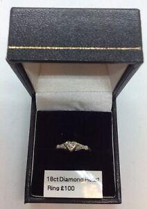 18ct & Platinum Diamond Heart Ring Size K