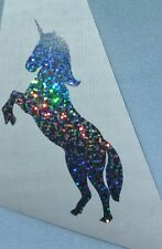 Unicorn Vinyl Car Decal Tumblers Yeti cup RTIC 3.5 h Silver holographic flakes.