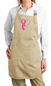 Ladies Breast Cancer Awareness Ribbon Heart Ladies Apron